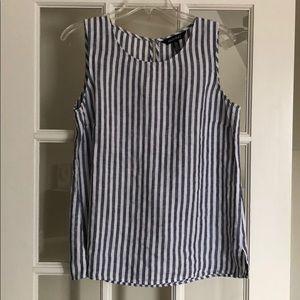 Sleeveless pine stripe linen shirt